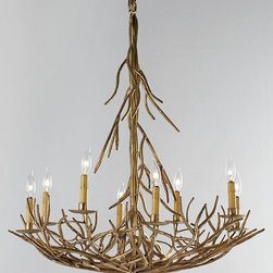 Eight-Light Iron Twig Chandelier - Bring an organic vibe to your cottage living or dining room with this twig chandelier made of iron. It's rustic-glam style at its very best!
