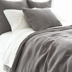 Pine Cone Hill - PCH Stone Washed Linen Shale Duvet - Lightweight and soft, the Stone Washed duvet cover sets a comfortable, modern tone in shale gray. This tailored PCH bedding accent by PCH dresses the bed with casual sophistication. Available in twin, full/queen and king; 100% linen; Button closure; Designed by Pine Cone Hill, an Annie Selke company; Machine wash