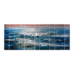 Pure Art - Sapphire Waves Oversized Wall Art Set of 9 - A subject of artists for centuries, this artwork shows the crested beauty of ocean waves as they ebb and flow unceasingly. A pink tinged sky provides contrast and sets the time as daybreak or day's end as visiting seagulls whirl above the waves looking for a tasty dinner. The simplicity in use of color and light give this traditional subject a modern feel.Made with top grade aluminum material and handcrafted with the use of special colors, it is a very appealing piece that sticks out with its genuine glow. Easy to hang and clean.