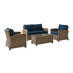 Crosley - Biltmore 4 Piece Outdoor Wicker Conversation Set, Navy - The modular design of the Biltmore 4-Piece Outdoor Wicker Conversation Set by Crosley allows you to customized seating area in your backyard. Coordinate with other Biltmore Wicker pieces or create your own configuration (additional pieces sold separately)