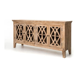 Four Hands - Azalea Sideboard, Dogwood, 4 Door - Invite old-world elegance and a modern eco-conscious vibe into your home. This handsome cabinet, hand-crafted of responsibly harvested mango wood, features glass fronts and brass pulls and would be a beautiful, functional addition to your dining room.