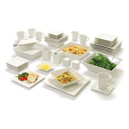 10 Strawberry Street Nova Square Banquet 45-Piece Dinnerware Set, Cream White - Simple, understated and elegant, these are perfect for a dinner party.