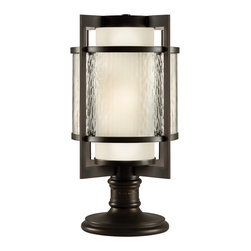 Fine Art Lamps - Singapore Moderne Outdoor Outdoor Adjustable Pier - Like a beacon on the night seas, this outdoor lantern makes a safe and welcoming addition to your home. Whether you're harboring a coastal, Arts and Crafts, modern or Asian vibe, the square shape in dark bronze houses a combination of white and textured glass and two bulbs.