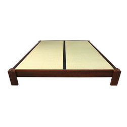 Oriental Furniture - Tatami Platform Bed - Walnut - Cal. King - This Tatami Platform Bed is made of Beech and Birch wood done in a stunning walnut finish. It is the perfect addition to your zen inspired bedroom retreat. Tatami Mats are not included with the purchase of this bed.