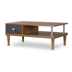 Baxton Studio - Baxton Studio Eastman TV Stand - So stylish, you might not want to put a television on it. Our Eastman TV Stand certainly makes a stand for style with its low-riding stance, tapered legs, chrome-plated pole and striking two-toned wood design. Contemporary, but at the same time seemingly recalling a bygone era, the Eastman offers a timeless take on the TV-stand concept.