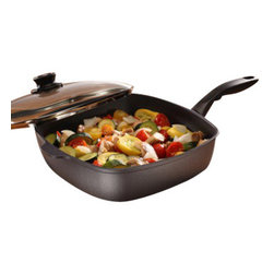 """Swiss Diamond - Nonstick Square Saute Pan with Lid - 5 qt (11 x 11"""") - Square is the new round. With its unique shape, the 11 x 11 inch Swiss Diamond Square Saute Pan is perfect for cooking and serving at that dinner party when you want to impress. Sauces, vegetables and meat will heat evenly in the cast aluminum construction, while our state-of-the-art diamond-reinforced coating takes care of the cleanup with just soap and warm water. The ergonomic handle, designed for comfort and balance, stays cool on the stovetop, and all Swiss Diamond products are oven-safe up to 500 degrees F. The included tempered glass lid allows you to monitor food without lifting the cover, maintaining flavor and keeping food from drying out. The rotating lid knob opens or closes a steam vent to release or contain moisture as needed."""