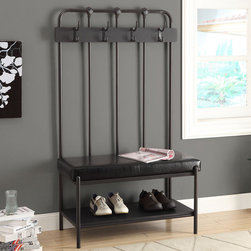 None - Monarch 60-inch Charcoal/ Black Entry Bench - Decorate your entryway in sophisticated,inviting style with this unique bench,with four double coat hooks and a large shelf for plentiful storage. Finished with sleek charcoal grey,this metal bench set features a black leatherette cushion for comfort.