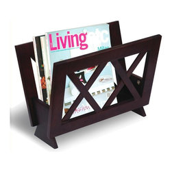 Coaster - Accent Magazine Rack - Cross bar pattern. Cappuccino finish. 15.75 in. W x 9.75 in. D x 11.25 in. H. WarrantyEven your magazines could use a little place of their own. With this magazine rack, you can keep your magazines all tidied up and organized in you living room, reading room or bedroom.