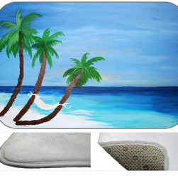 Hammock Bay Plush Bath Mat, 20X15 - Bath mats from my original art and designs. Super soft plush fabric with a non skid backing. Eco friendly water base dyes that will not fade or alter the texture of the fabric. Washable 100 % polyester and mold resistant. Great for the bath room or anywhere in the home. At 1/2 inch thick our mats are softer and more plush than the typical comfort mats.Your toes will love you.