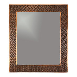 """Premier Copper Products - 36"""" Rectangle Copper Mirror with Braid Design - Uncompromising quality, beauty, and functionality make up this Hand Hammered Copper Rectangle Mirror Frame with a Decorative Braid Design.  Our hand made copper mirrors complement a wide variety of styles and colors."""