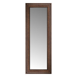 """Posters 2 Prints, LLC - 17"""" x 39"""" Arqadia Bronze Traditional Custom Framed Mirror - 17"""" x 39"""" Custom Framed Mirror made by Posters 2 Prints. Standard glass with unrivaled selection of crafted mirror frames.  Protected with category II safety backing to keep glass fragments together should the mirror be accidentally broken.  Safe arrival guaranteed.  Made in the United States of America"""
