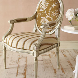 """Massoud - """"Magarite"""" Chair - The Magarite"""" Chair is elegant and sophisticated with its neutral stripes and floral crewelwork on velvet.  Use this chair in a bedroom or any room where a little extra seating is welcome.      * Seat is 23""""W x 21""""D x 19""""T.    * Arm height, 27""""T.    * Overall, 27""""W x 28""""D x 41""""T."""