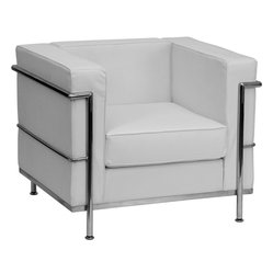Flash Furniture - Le Corbusier Style Regal Series Contemporary White Leather Chair with Encasing F - This attractive white leather reception chair will complete your upscale reception area. The design of this chair allows it to adapt in a multitude of environments with its smooth upholstered cushions and visible accent stainless steel frame.