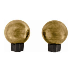Arteriors - Hammond Andirons, Set of 2 - These sophisticated metal spheres finished in antique brass or polished nickel pump up the drama quotient in spaces they inhabit and provide a strong architectural silhouette for hearths in need of decoration. The base is cast iron.