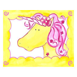 Oh How Cute Kids by Serena Bowman - Royal Unicorns - Daffodil, Ready To Hang Canvas Kid's Wall Decor, 8 X 10 - Always be yourself, unless you can be an unicorn. Then ALWAYS be a Unicorn