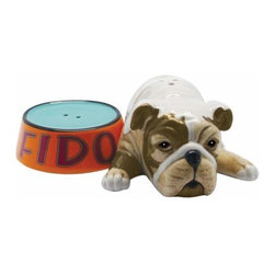 WL - 1.5 Inch Fido with Pet Food Bowl Ceramic Salt and Pepper Shakers - This gorgeous 1.5 Inch Fido with Pet Food Bowl Ceramic Salt and Pepper Shakers has the finest details and highest quality you will find anywhere! 1.5 Inch Fido with Pet Food Bowl Ceramic Salt and Pepper Shakers is truly remarkable.