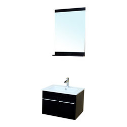 Bellaterra - 24.4 In Single Wall Mount Style Sink Vanity - Wood - Black - This wall mount style vanity is constructed with solid birch, finished in rich black finish. Two doors installed with soft closing hinges, complete with brush nickel finish  hardware. Dimension: 24.4Wx18.5Dx16.75H * ** * Birch* Black* White Ceramic * White Ceramic Sink*Chrome finish hardware * Pre-drilled with 1 hole - One slot faucet, faucet and mirror not included* Slight assembly required. Dimensions: 24.4 in. x 18.5 in.