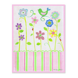 Stupell Industries - Green Bird on Flower Rectangle Wall Plaque - Made in USA. MDF Fiberboard. Hand finished and packed. Approx. 15 in. W x 11 in. L. 0.5 in. ThickThe Kids Room by Stupell features exceptional handcrafted wall decor for children of all ages.  Using original art designed by in-house artists, all pieces feature hand painted and grooved borders as well as colorful grosgrain ribbon for hanging.  Made in the USA, everything found in The Kids Room by Stupell exudes extraordinary detail with crisp vibrant color. Whether you are looking for one piece to match an existing room's theme, or looking for a series to bring the kid's room to life, you will most definitely find what you are looking for in The Kids Room by Stupell.