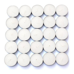 "Jeco - White Citronella Tealight Candles - 100pcs/Box - ""Traditionally, tealights were used as food warmers. However, tea lights now serve multiple purposes. Line them up at night to create a romantic walkway, or arrange them in tealight holders as a unique centerpiece to complement your dining experience. These tealight candles are hand poured in aluminum cups."