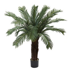 "4' Cycas Tree UV Resistant (Indoor/Outdoor) - ""Whoa, look at that""... that's what was said when we unveiled this stunning 4' Cycas tree. Looking positively prehistoric, this unique specimen is big, bold, and definitely a statement-making piece of decor. With 18 leafy fronds spilling forth, it'll enhance the look of your home or office in a big way. Plus, it's an indoor / outdoor piece (And UV resistant), making your decorating options numerous indeed. Makes a fine gift, too. Height= 4 Ft. x Width= 49 In. x Depth= 48 In."