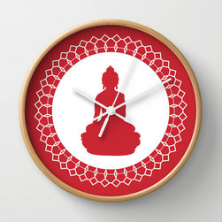 Time Peace Wall Clock - Be at peace with time with a little help from this eclectic wall clock. Featuring a peaceful Buddha figure in its center, its red and white detailing bring the clock to the forefront without overwhelming.