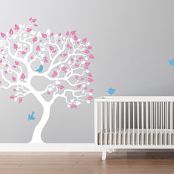 Baby girl's nursery tree decal - Tree decal designed for baby nurseries. Wall Decals are made to order in USA. Original and unique decals made by Cherry Walls