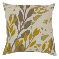 "Surya - Surya JD-023 Charming Cattail Pillow, 20"" x 20"", Poly Fiber Filler - Get caught up in cattails with this beautifully designed pillow from the Jef designs collection. Featuring intricate mustard colored cattail images splashed across a soft beige canvas, this piece will give your room a natural feel with still maintaining qualities of high fashion. This pillow contains a zipper closure and provides a reliable and affordable solution to updating your home's decor."