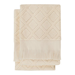 Nine Space - Trellis Hand Towel (Set of 2), White - A subtle crisscross pattern and neutral hue allow you to place these hand towels in any bath, stacked neatly in a basket or hung on a rack. Each is handwoven from pure Turkish cotton, making them soft and ultra absorbent.