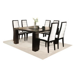 """Sharelle Furnishings - Jordan Dining Table - The Jordan Dining Table blends wood, black glass and chrome to create this elegant dining table. The square table has two exterior extensions to fit up to 12 people comfortably. The center black glass lazy susan makes entertaining simple on this large dining room table. Features: -Jordan collection. -Wenge finish. -Material: Wood. -Black glass lazy susan. -Square shape. -Two separate extensions. -Fits up to 12 people. -Dimensions: 70"""" Height x 78""""-95"""" Width x 55"""" Depth."""