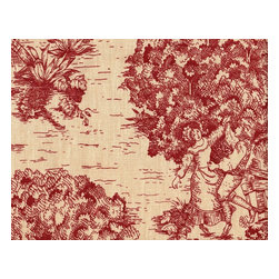 """Close to Custom Linens - 72"""" Tablecloth Round Toile with Stripe Topper Crimson Red - A charming traditional toile print in crimson red on a beige background. Includes a 72"""" round cotton tablecloth."""