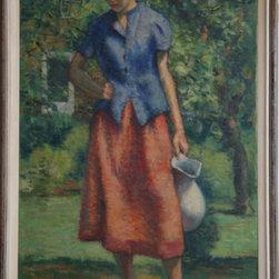 William J. Schultz, Outdoor Figure Study, Oil Painting - Artist:  William J. Schultz, American (? - 2005)