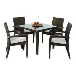 """All Things Cedar - Rattan Wicker Furniture, Patio Table Set Dining Set With White Cushion - Rattan 5 pc Patio Table Set Includes Glass Plate Top  +  4 Arm Chairs with decorative aluminum ferrules and 4 White Cushions. DIMENSIONS : TABLE : 35w x 25d x 29h : CHAIR : 24w x 23d x 38h --- SEAT : 16w x 19d x 16h --- ARM HEIGHT : 25"""" : CUSHIONS : 18W X 18D X 2H"""