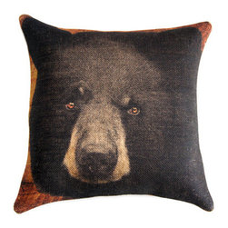 Black Bear Burlap Throw Pillow by The Watson Shop - I love this black bear pillow! He's so rustic and makes a bold statement piece on your side chair.
