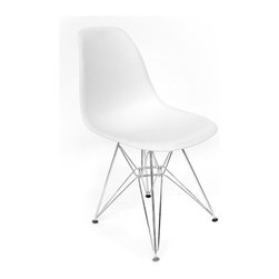 Aeon Furniture - Paris Eiffel Base Side Chairs in White - Set - Includes 2 Chairs. Plastic Molded Seat. Classic eiffel base in chromed steel finish. Non-marking plastic feet. Assembly Required. Seat Height: 17.75. 18 in. L x 18.5 in. W x 32 in. H (10.5 lbs.)Reminiscent of the mid century classic design, this molded plastic side chair sits on an chromed steel eiffel base.  With its great look and high functionality, our side chair is not only for dining but will enhance any room in your home.