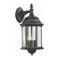 Kenroy Home - Custom Fit 3-Light Wall Lantern - Required three 60 watt candelabra base bulbs. E-12 socket type. Clear glass panel shade. UL listed. 9 in. extension. Made from cast aluminum. Golden bronze color. Shade: 8.25 in. L x 7.75 in. W x 6.75 in. H. Backplate: 4.5 in. W x 5.88 in. H. Overall: 8 in. W x 15 - 25 in. H (5.61 lbs.). Assembly InstructionsWith 5 different potential looks, custom fit will let your creative light shine. You can combine the finials, tails and glass into multiple configurations to find the one that will be just right for your outdoor space.