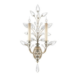 Fine Art Lamps - Crystal Laurel Silver Sconce, 759750ST - Like the laurel wreath that signified honor and prestige in classical times, this sconce's stylized sprig blooms with a regal, triumphant air, glistening with crystal leaves. Try two of these sconces on either side of a mirror or console to make full use of the piece's classical symmetry.