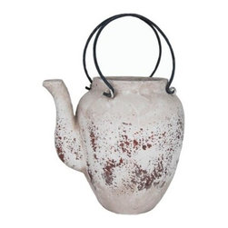 100 Essentials Antique Pot - This decorative pot has a rustic antique look and is made of ceramic. This item is available in 2 sizes. Weather-resistant.