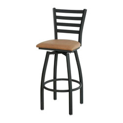 """Alston - Ladder-Back Bar Stool w Upholstered Swivel Se - Fabric: Oak Grade 2 +Use this contemporary barstool to add a dash of elegance to your bar or kitchen island. Graceful legs bend away from the seat, while the ladder back tapers as it reaches the upholstered cushion. The black metal frame contrasts perfectly with all cushion options. * Black metal swivel stool 30"""" high. Ladder back style. Features a single ring around the legs of the chair. Available with an upholstered vinyl seat. 17.25 in. W x 16.75 in. D x  43 in. H"""