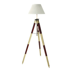 "Inviting Home - Surveyors Tripod Lamp (Red and Ivory) - Tripod lamp on antique red and ivory tripod; 29-1/8"" x 29-1/8"" x 50-3/8""H; Hand crafted tripod lamp features wood legs brass hardware hand-painted in antique red and ivory; tripod lamp has anti-scratch feet and cream shade. A mundane object yet one wonders who invited this simple but effective tool. Myriads have been carried up hills and mountains upstream and down helping to survey the length and breadth of continents. A symbol of practical science our 1930s red and ivory tripod makes a highly effective and decorative lamp stand. Function turned into contemporary design..."