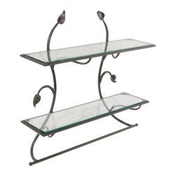 Stone County Iron Works - Leaf Black Wall Shelf Towel Bar - Stone County 900-270-GLS Wall Shelf with Pencil Edge Glass shelves.