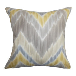 The Pillow Collection - Caltha Zigzag Pillow Grey - This throw pillow comes with a mixture of rich colors and textures. Pop this accent pillow in your living room, bedroom or lounge area to add a fun twist. The bold zigzag ikat pattern comes in shades of gray, yellow, blue and natural. Toss this square pillow anywhere inside your home where it needs texture and dimension. Made of 100% high-quality and soft cotton fabric. Hidden zipper closure for easy cover removal.  Knife edge finish on all four sides.  Reversible pillow with the same fabric on the back side.  Spot cleaning suggested.