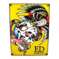 Licensed Ed Hardy `Battle` Light Box Dorm Decor - This officially licensed Ed Hardy `Battle` fluorescent light box is perfect for use in home bars, bedrooms and dorms. Measuring 18 1/2 inches tall, 13 1/2 inches wide, and 4 inches deep, the light box has an interior fluorescent light tube that shines brightly to bring the iconic eagle, snake and skull image on the front to life! It makes a great gift for Ed Hardy fans.