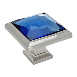 Cosmas - Cosmas 5883SN-BL Satin Nickel & Blue Glass Square Cabinet Knob - Manufacturer: Cosmas