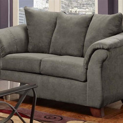 Chelsea Home - Transitional Kiersten Loveseat - Medium seating comfort. Zippered cushions. Reinforced 16-gauge border wire sinuous springing system to maintain uniform seating. Double springs on the ends nearest the arms to give balance in the seating. Hi-density foam cores cushion with Dacron polyester wrap to provide longer life. Stress points are reinforced with blocks to secure a long lasting frame. Flatsuede graphite cover. 100% poly fabric. Solid kiln dried hardwoods and engineered wood frame. Made in USA. No assembly required. 66 in. L x 37 in. W x 39 in. H (100 lbs.)