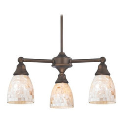 Design Classics Lighting - Mini-Chandelier with Mosaic Glass in Neuvelle Bronze Finish - 598-220 GL1026MB - Transitional neuvelle bronze 3-light chandelier. Takes (3) 100-watt incandescent A19 bulb(s). Bulb(s) sold separately. UL listed. Dry location rated.