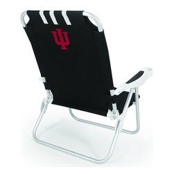 """Picnic Time - Indiana University Monaco Beach Chair Black - The Monaco Beach Chair is the lightweight, portable chair that provides comfortable seating on the go. It features a 34"""" reclining seat back with a 19.5"""" seat, and sits 11"""" off the ground. Made of durable polyester on an aluminum frame, the Monaco Beach Chair features six chair back positions and an integrated cup holder in the armrest. Convenient backpack straps free your hands so you can carry other items to your destination. Rest and relaxation come easy in the Monaco Beach Chair!; College Name: Indiana University; Mascot: Hoosiers; Decoration: Digital Print"""