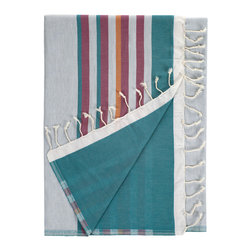 Nine Space - Marcel Beach Wrap, Fuschia/Teal Multi - This quick-change artist is a summertime favorite. Use it as a beach wrap or towel, a throw for the back of a wicker chair or an impromptu tablecloth. Made from pure Turkish cotton with stripes on the front and a solid color on the reverse, each is finished with hand-tied fringe.