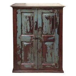 Pre-owned Dark Sea Green Distressed Cabinet - Revealing the natural wood tones beneath, this gorgeous cabinet is constructed of vintage reclaimed wood and interesting architectural pieces. Sure to be an eye catching accent in any space, it has a set of doors made from old shutters that open to reveal 4 shelves. Form AND function!