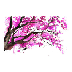 Watercolor Japanese Cherry Blossom Tree By Jessica Durrant - This cherry blossom watercolor print is a phenomenal choice to add some hot pink to a room.