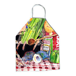 """Caroline's Treasures - Gumbo and Potato Salad Apron 8825 8825-2APRON - Apron, Bib Style, 27""""H x 31""""W; 100% Ultra Spun Poly, White, braided nylon tie straps, sewn cloth neckband. These bib style aprons are not just for cooking - they are also great for cleaning, gardening, art projects, and other activities, too!"""